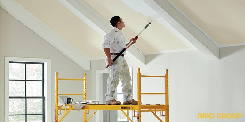 رنگ ساختمانی برای سقف با غلطک_آریو رنگ دماوند
